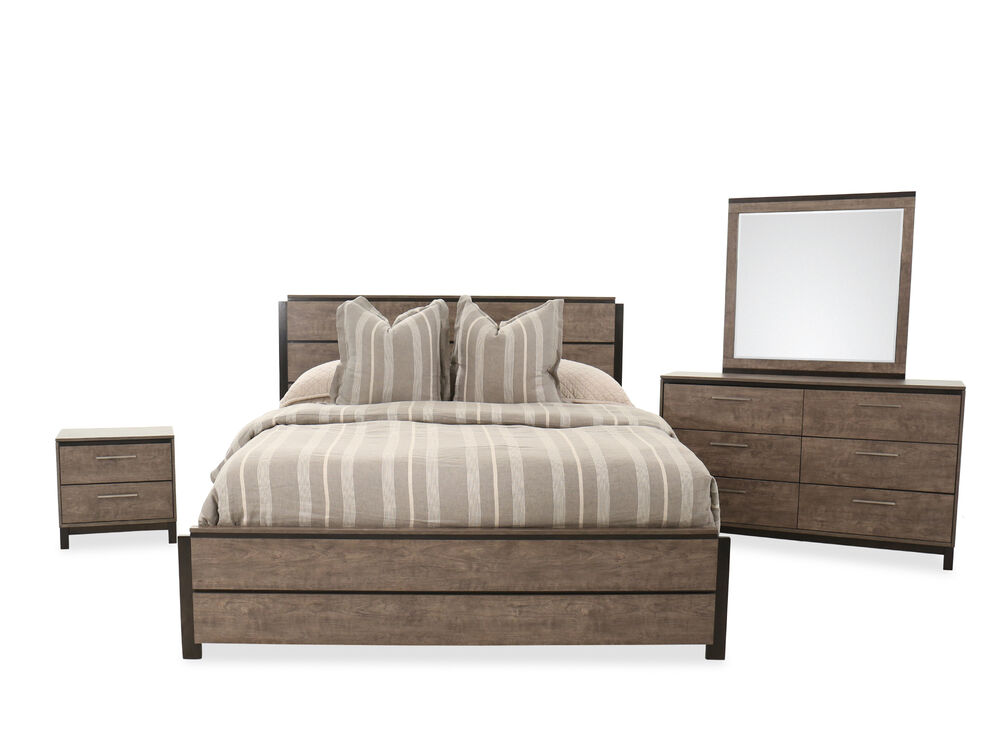 Four Piece Wood Bed Set In Brown