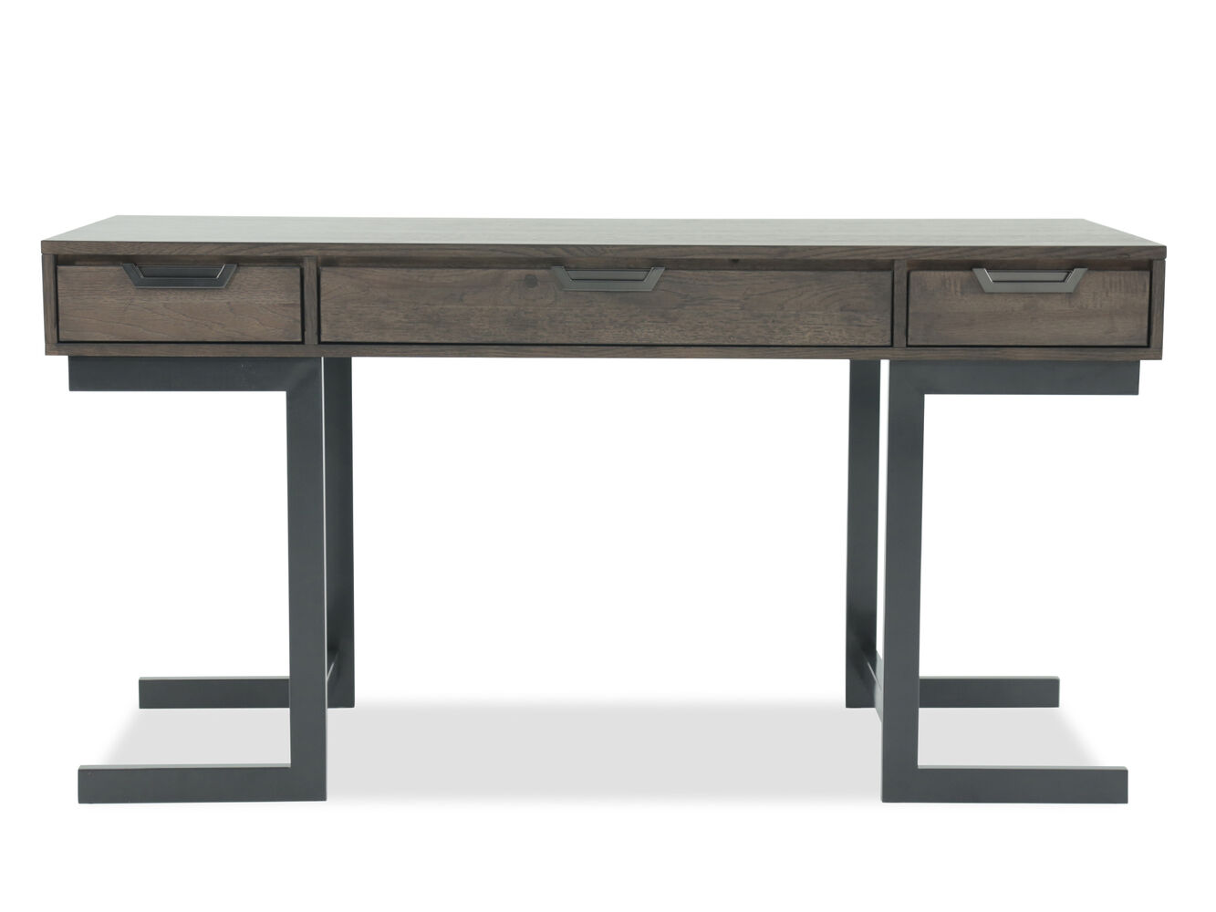 "60"" Mid-Century Modern Three-Drawer Writing Desk in Gray ..."
