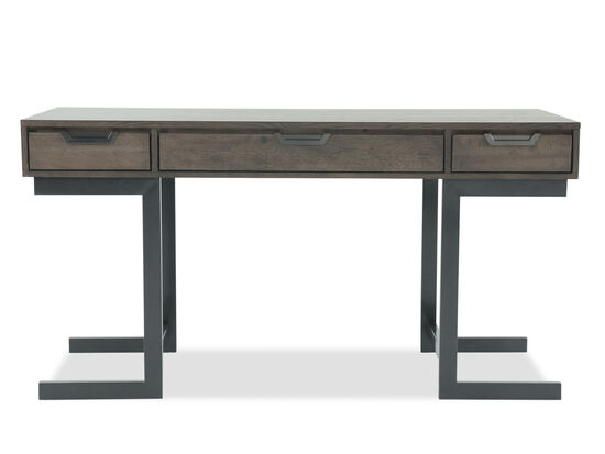 "60"" Mid-Century Modern Three-Drawer Writing Desk in Gray"
