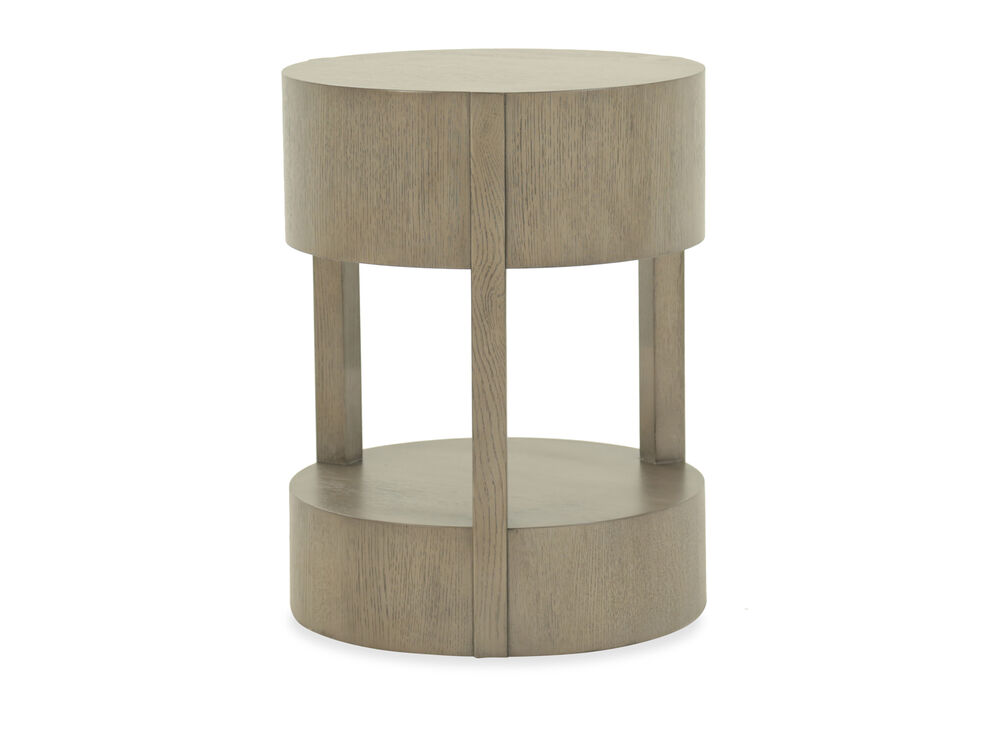 Round Modern Chairside Table in Gray