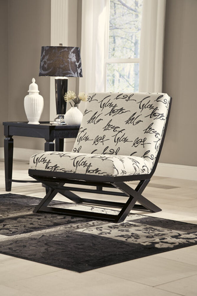 """Caligraphy Patterned Contemporary 28"""" Accent Chair in Cream"""