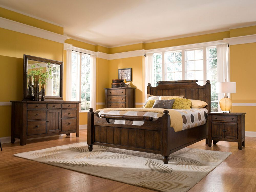 Four-Piece Solid Wood Bedroom Set in Rustic Oak | Mathis ...