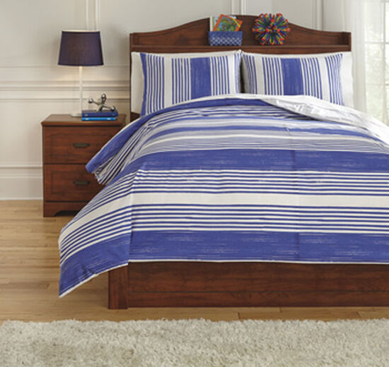 Three-Piece Striped Contemporary Full Duvet Cover Set in Blue