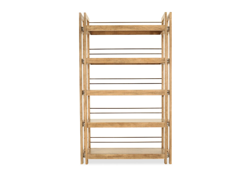 Five-Shelf Metal-Accented Etagere in Light Maple