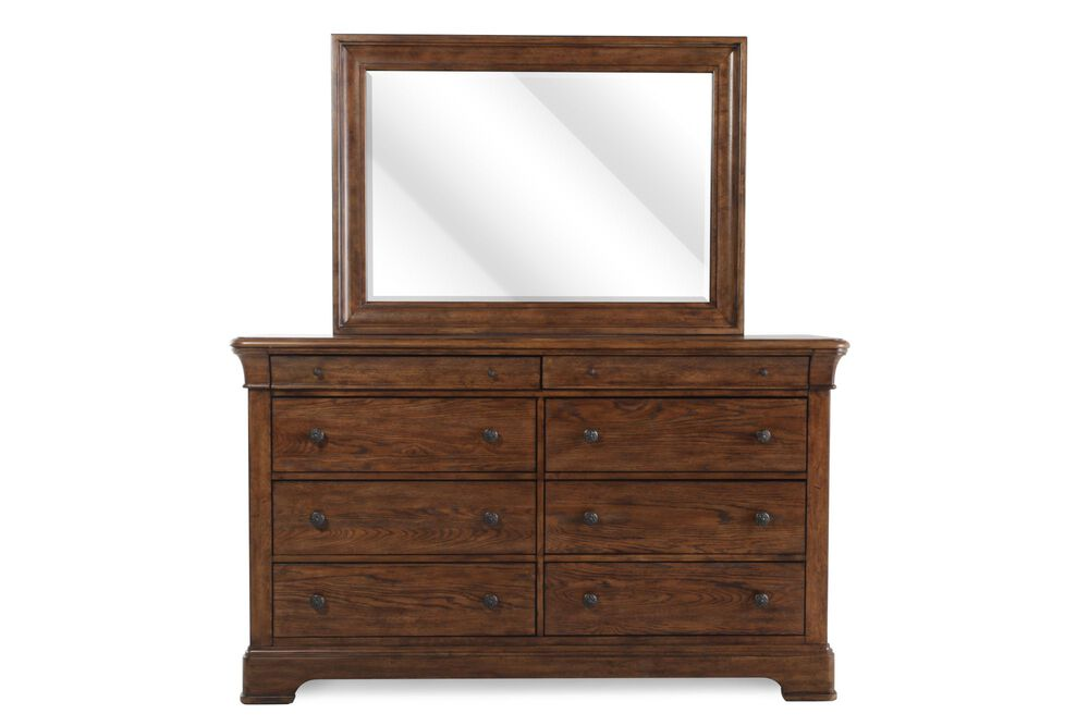 Images Two Piece Traditional Eight Drawer Dresser And Mirror In Light Oak