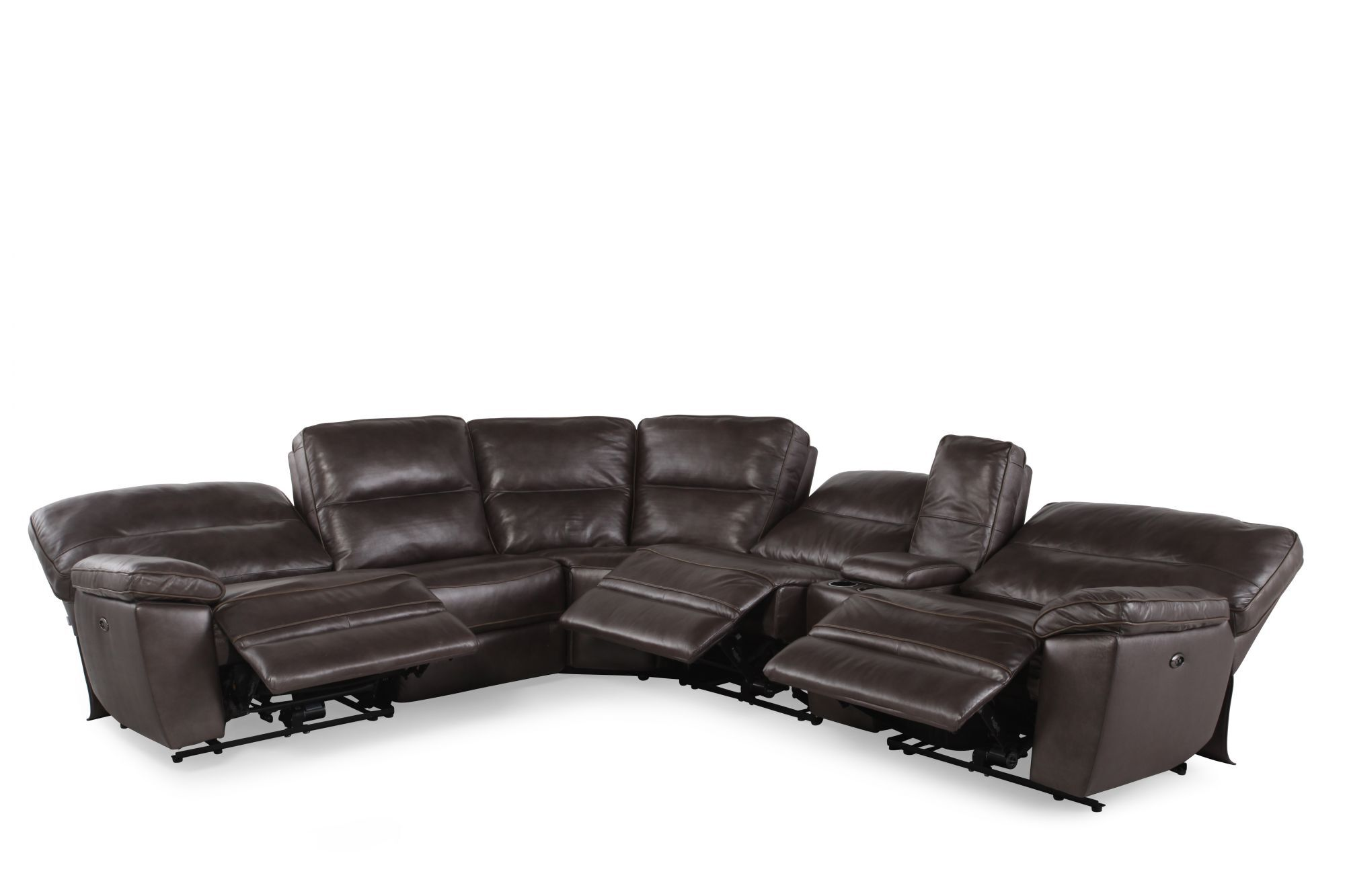 Superior Six Piece Contemporary Leather Reclining Sectional In Dark Gray