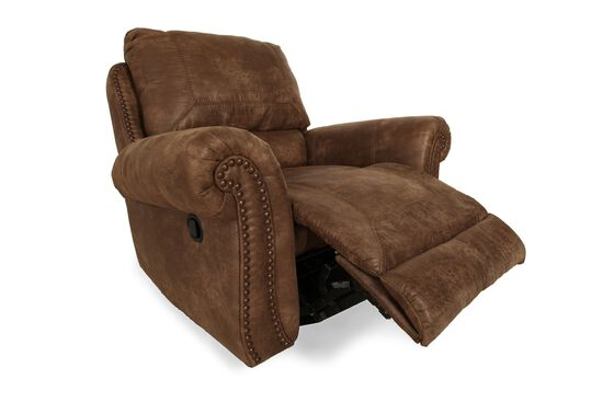 """Nailhead Accented Contemporary 34"""" Swivel Glider Recliner in Saddle Brown"""