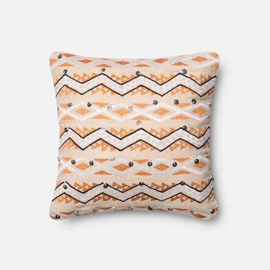 "Contemporary 18""x18"" Cover w/Poly Pillow in Orange/Ivory"