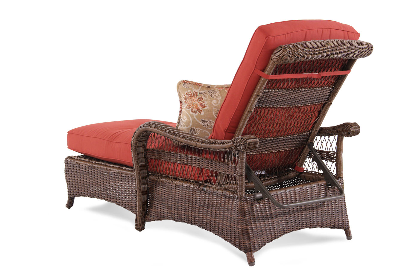 Button tufted aluminum wicker chaise in red mathis for Button tufted chaise
