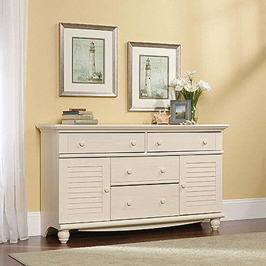 """34"""" Traditional Four-Drawer Dresser in Antiqued White"""
