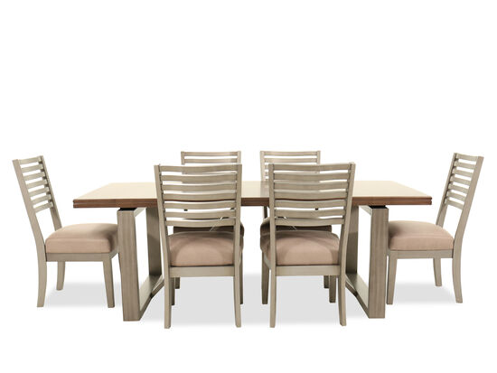 Seven-Piece Modern Dining Set in Cream