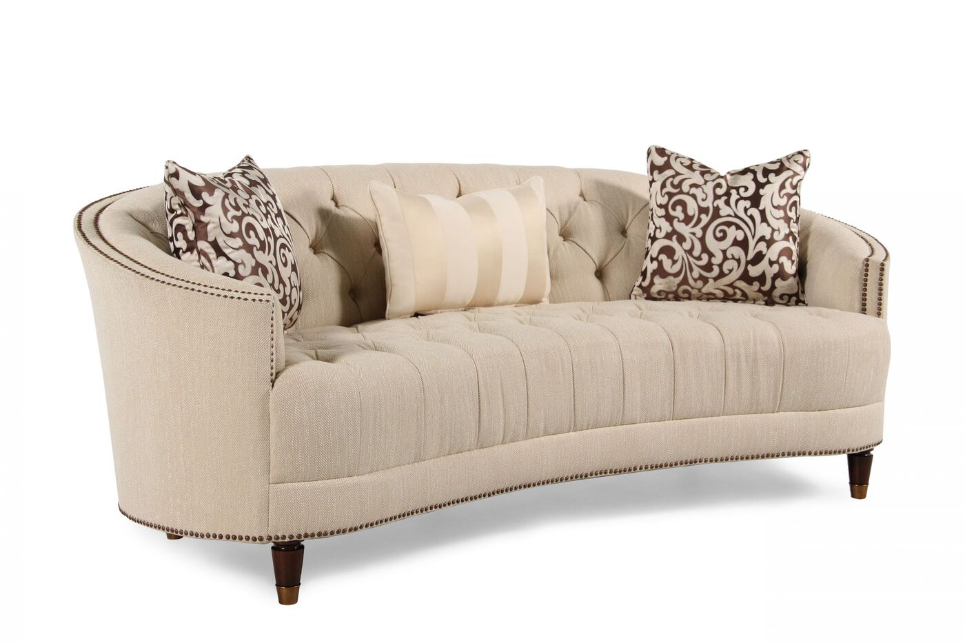 button tufted demilune sofa in cream mathis brothers furniture. Black Bedroom Furniture Sets. Home Design Ideas