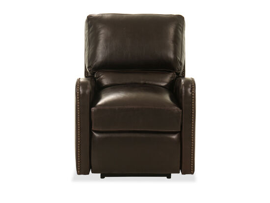 "Nailhead Accent Leather 30"" Power Recliner in Brown"