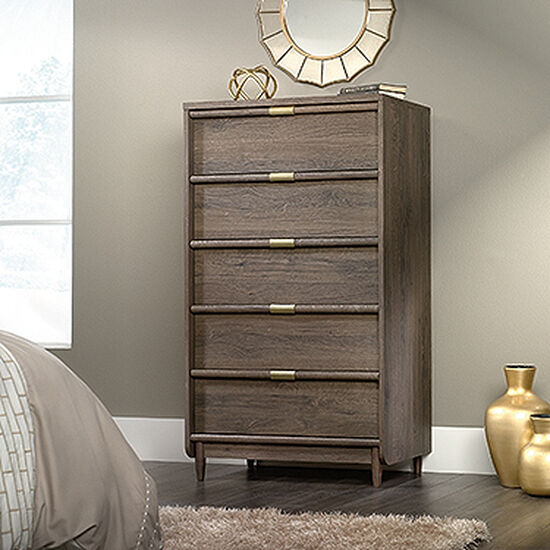 """56"""" Five-Drawer Chest in Fossil Oak"""