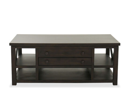 Traditional Lift Top Cocktail Table in Weathered Brown