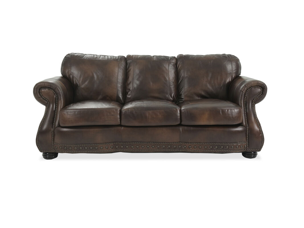 Covered By Luxurious 100 Top Grain Leather In A Rich Glossy Medium Brown It S Stylish Way To Add Comfort Any Room