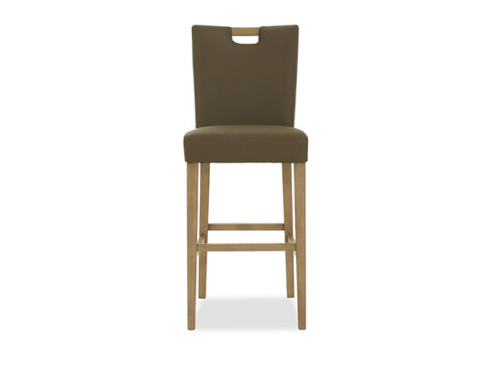 Casual Leather Bar Stool in Gray