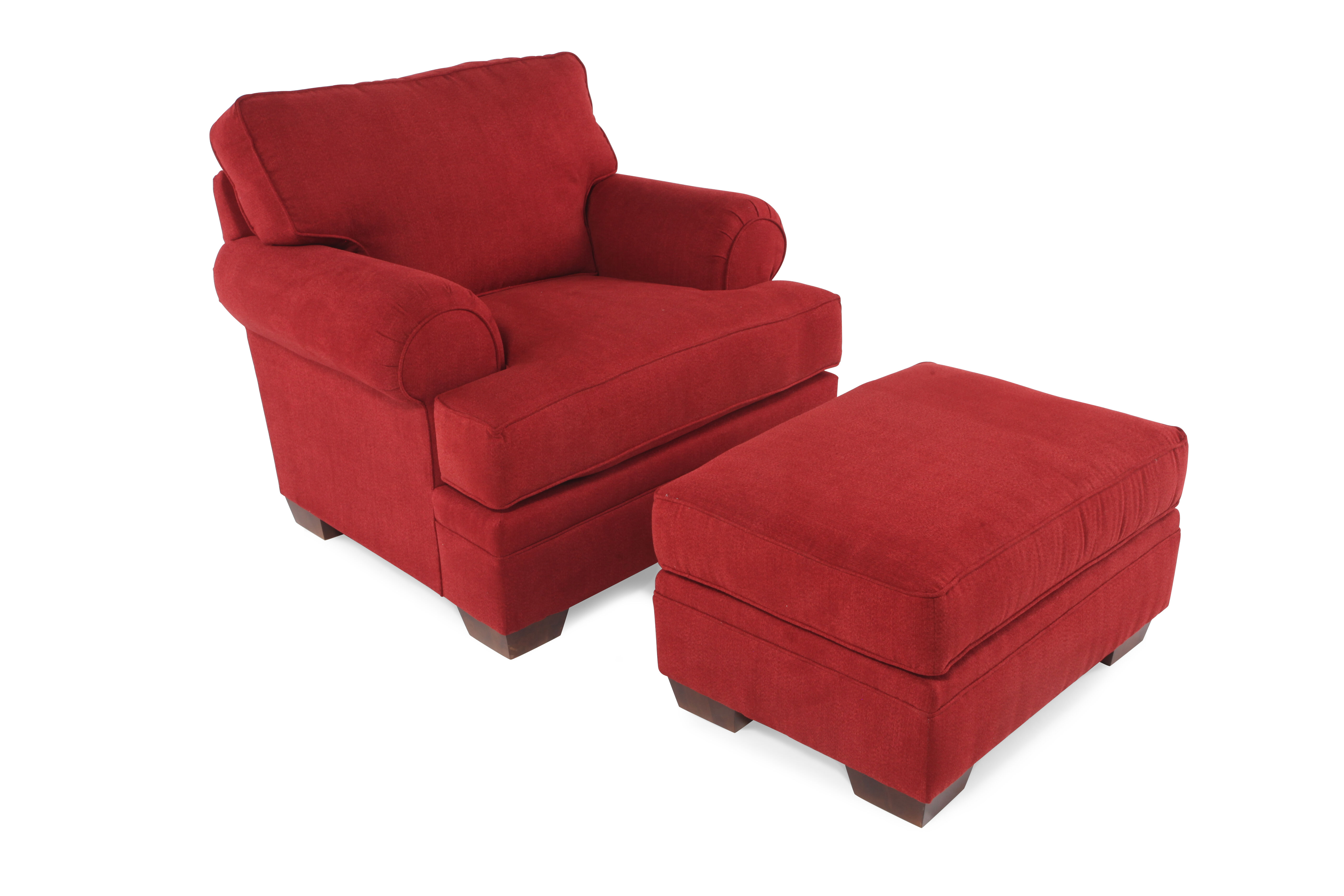 Delicieux Traditional Chair And Ottoman In Red