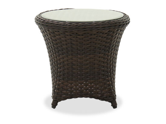 "23"" Contemporary Glass Top Patio End Table in Dark Brown"