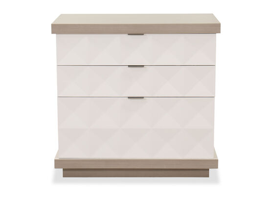 32'' Three-Drawer Transitional Nightstand in Linear White