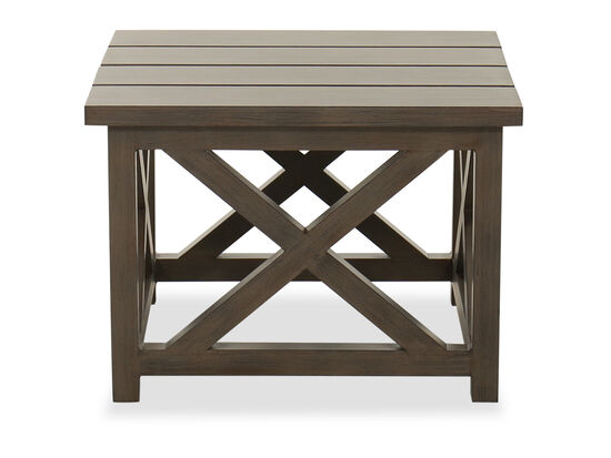 Aluminum Patio End Table in Brown