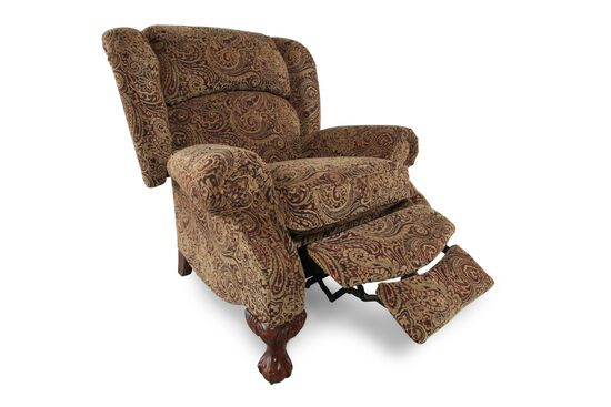 "Paisley Patterened Contemporary 38.5"" Recliner"