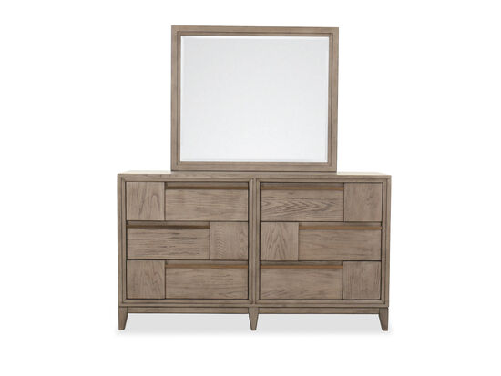 Two-Piece Transitional Dresser & Mirror Set in Nouveau Gray