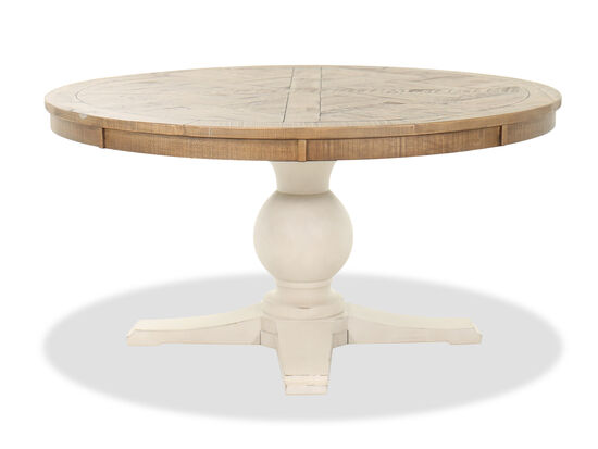 "60"" Country Round Dining Table in Brown/White"