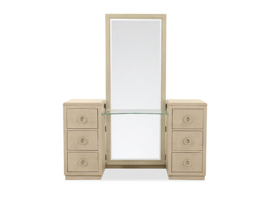 Two-Piece Six-Drawer Vanity Dresser and Mirror in Shadow Gray