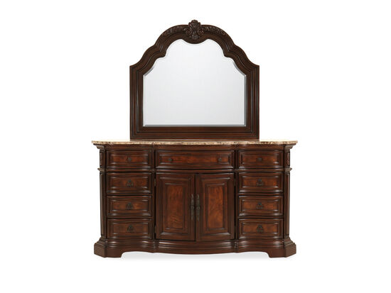 Two-Piece Traditional Raised Border Dresser and Mirror in Deep Cherry
