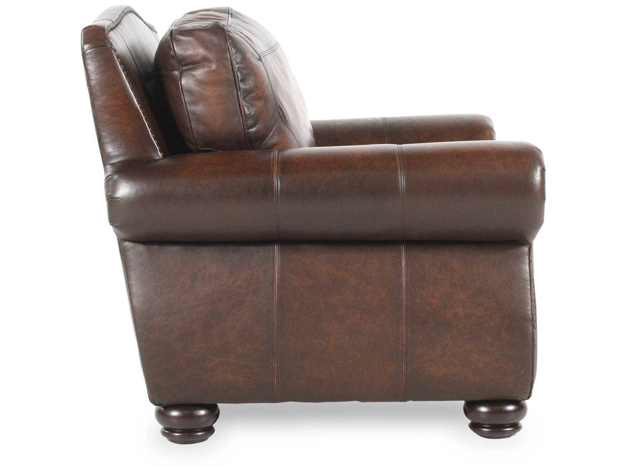Delicieux Nailhead Trimmed Leather Chair In Brown