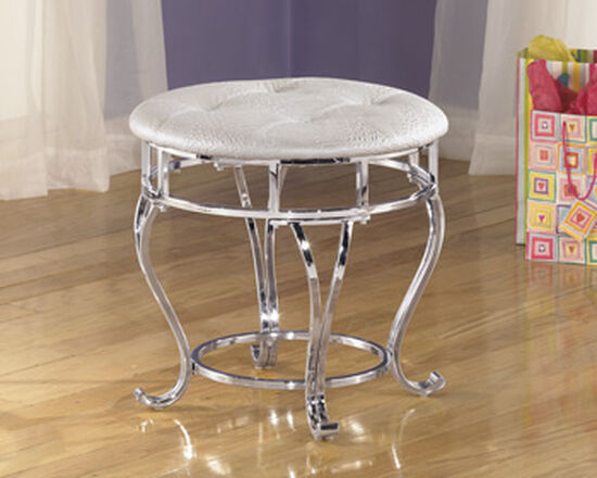 Armless Contemporary Youth Stool in Silver