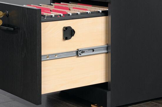 Three-Drawer Contemporary Pedestal File in Bourbon Oak