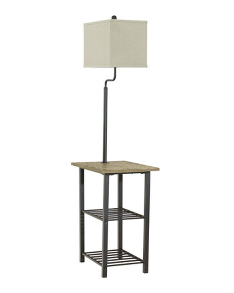 Casual Two Shelf Tray Floor Lamp In Black Mathis