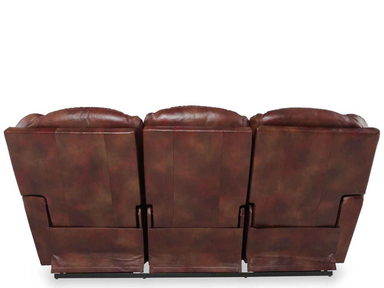 LaZBoy Maverick Mahogany Leather Reclining Sofa Mathis - Mahogany leather sofa