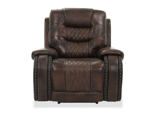 "Nailhead Trimmed Contemporary 41.5"" Power Recliner in Brown"