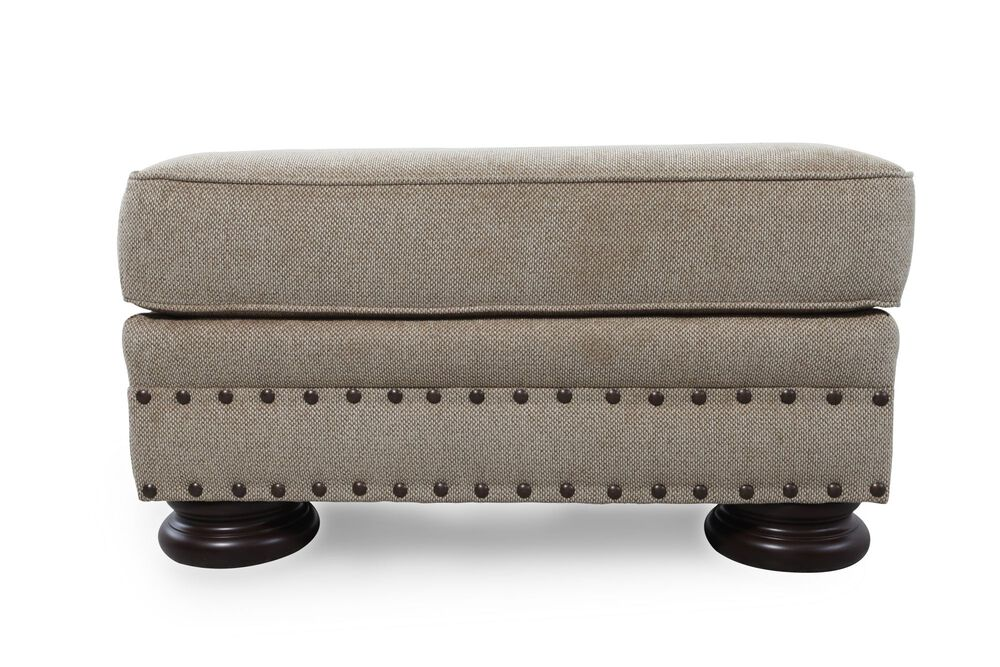 "Nailhead Accented European Classic 32"" Ottoman in Brown"