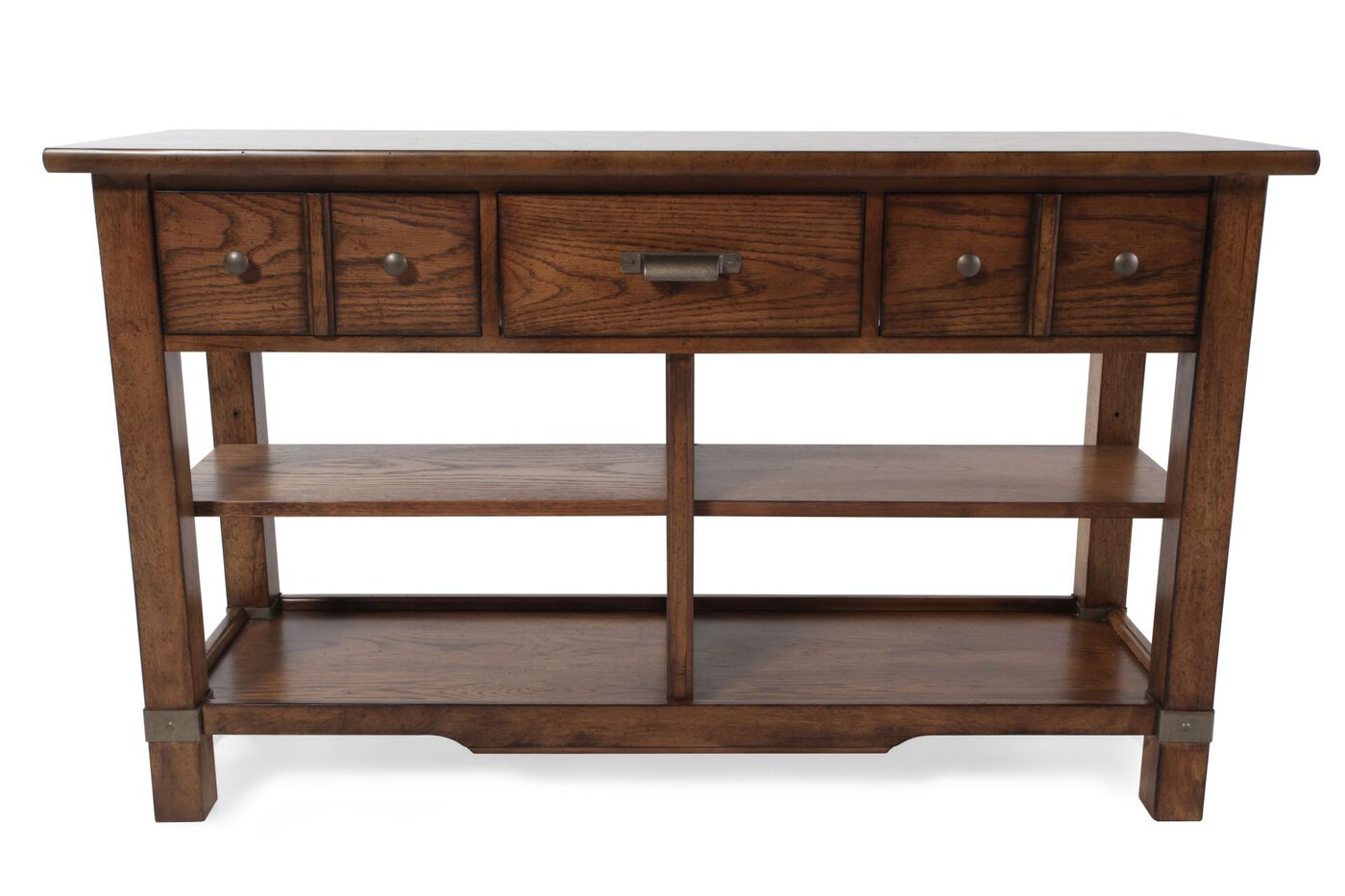 Partitioned shelves contemporary console table in vintage for Sofa table vintage