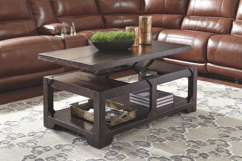 Lift Top Casual Cocktail Table In Dark Rum Mathis Brothers Furniture