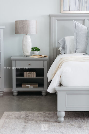 """29"""" Casual One-Drawer Nightstand in Gray"""