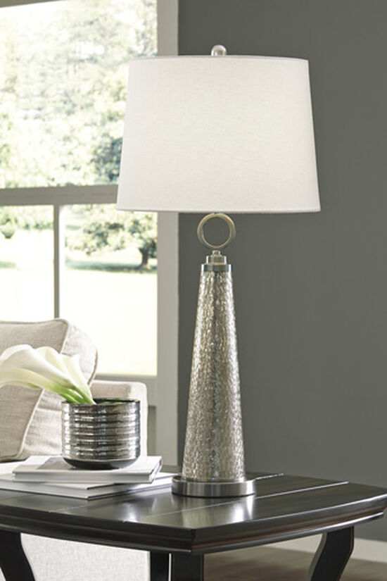 Contemporary Cone-Shaped Mercury Glass Table Lamp