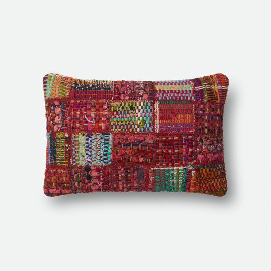 "Contemporary 13""x21"" Cover w/Poly Pillow in Red/Multi"