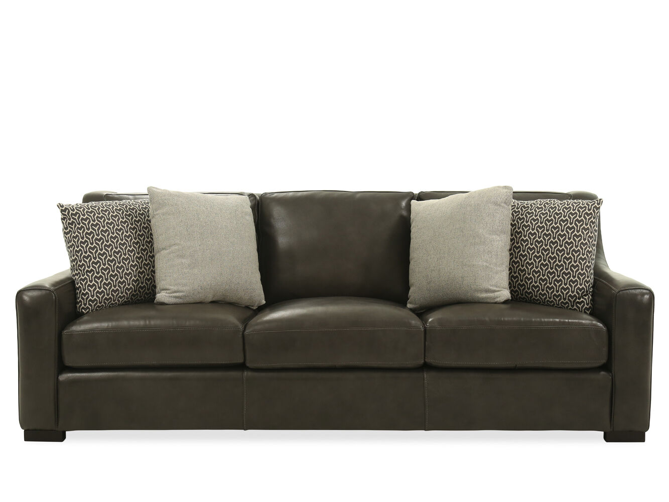 Casual leather 93 sofa in gray mathis brothers furniture for Casual couch