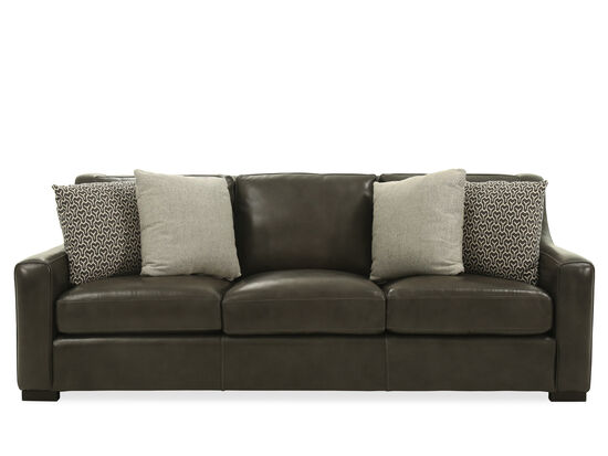 """Casual Leather 93"""" Sofa in Gray"""