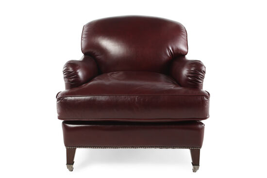 "English Arm Leather 33.5"" Chair in Burgundy"