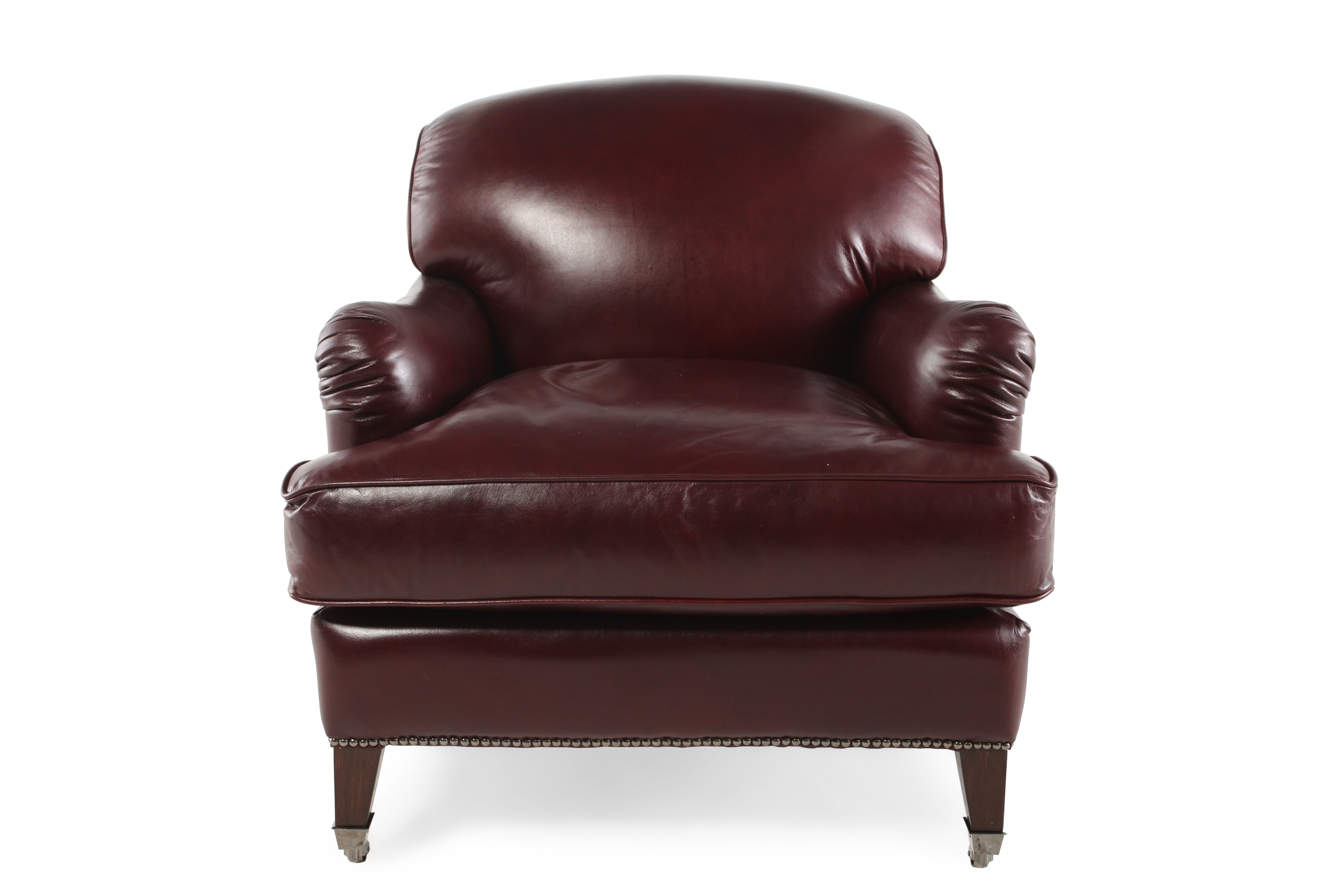 English Arm Leather 33.5u0026quot; Chair In Burgundy