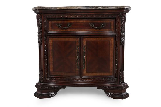"34"" Traditional Stone Top Nightstand in Dark Pomegranate"