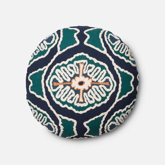 "Contemporary 1'-8""x1'-8"" Round Cover w/Poly Pillow in Blue/Teal"