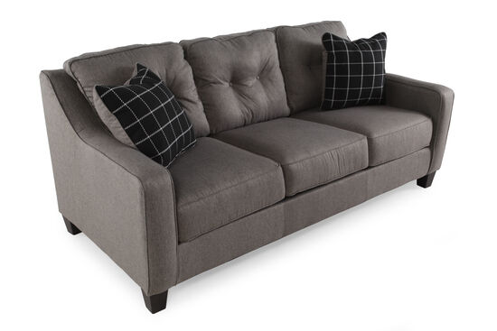 """Contemporary Button-Tufted 80"""" Sofa in Charcoal"""