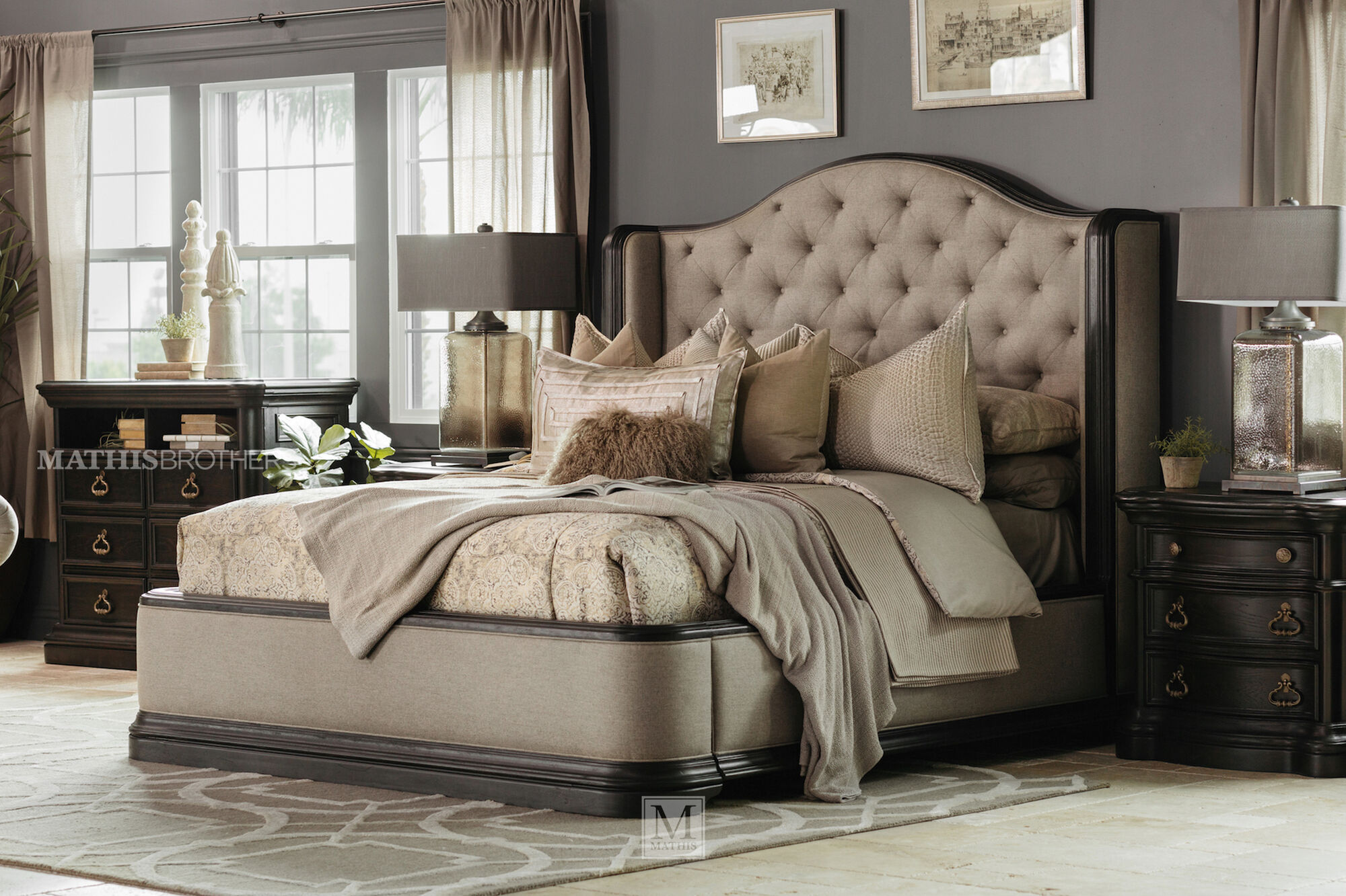 Four Piece Refined Romantic Luxury Bedroom Set In Brown Mathis